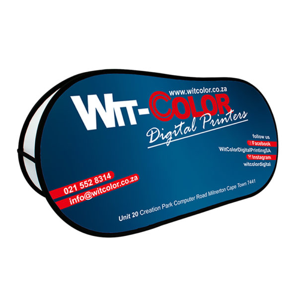 Witcolor - Outdoor Pop-Up Banners come in 2x1m and 3x1m banner sizes.